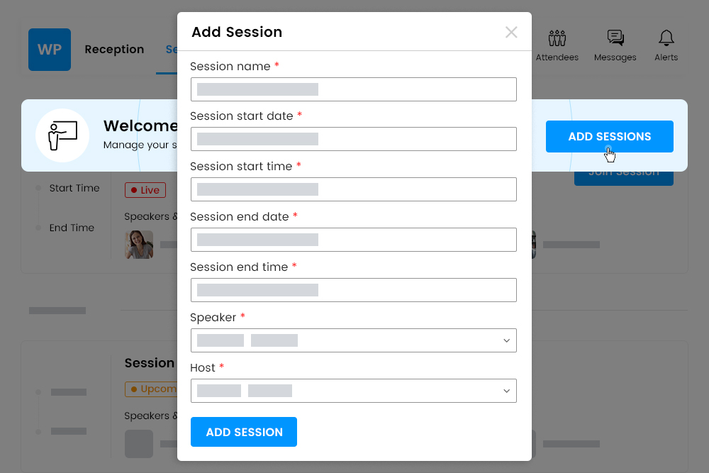 Organizers can add multiple sessions or breakout rooms.