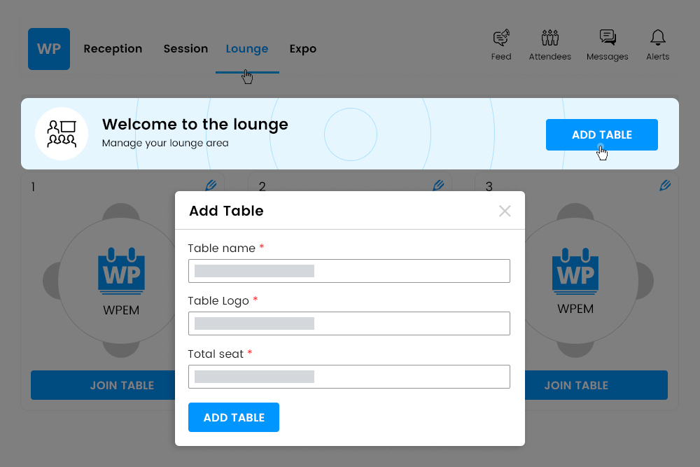 Organizers can add multiple tables at Social Lounge