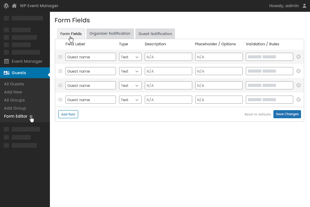 Customizable Form Fields Editor at Admin Panel