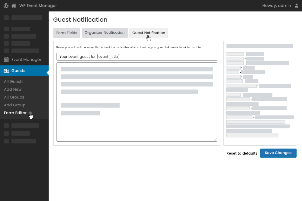 Guest Email Notification Settings at Admin Panel