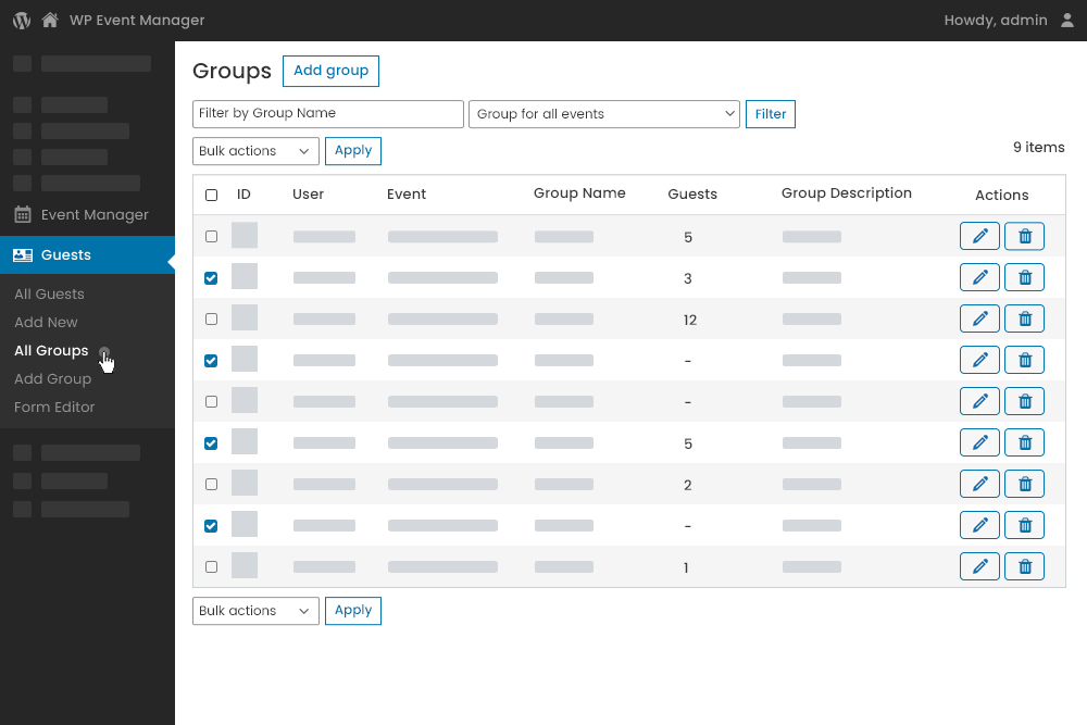 Guest Group dashboard at admin panel