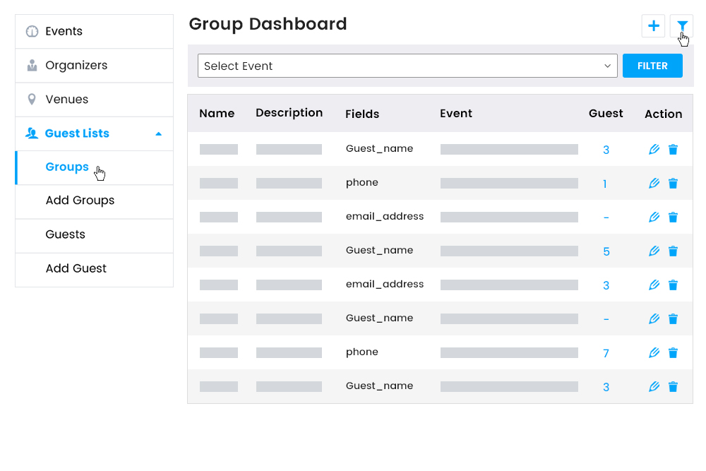 Guest Group dashboard on Frontend
