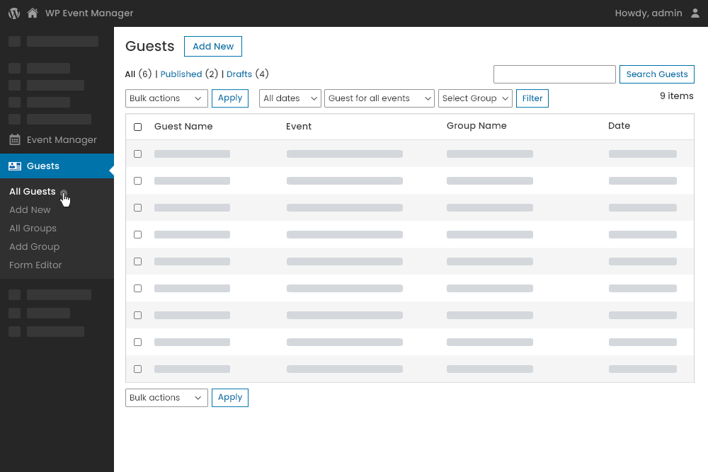 Guest List Dashboard from Admin Panel