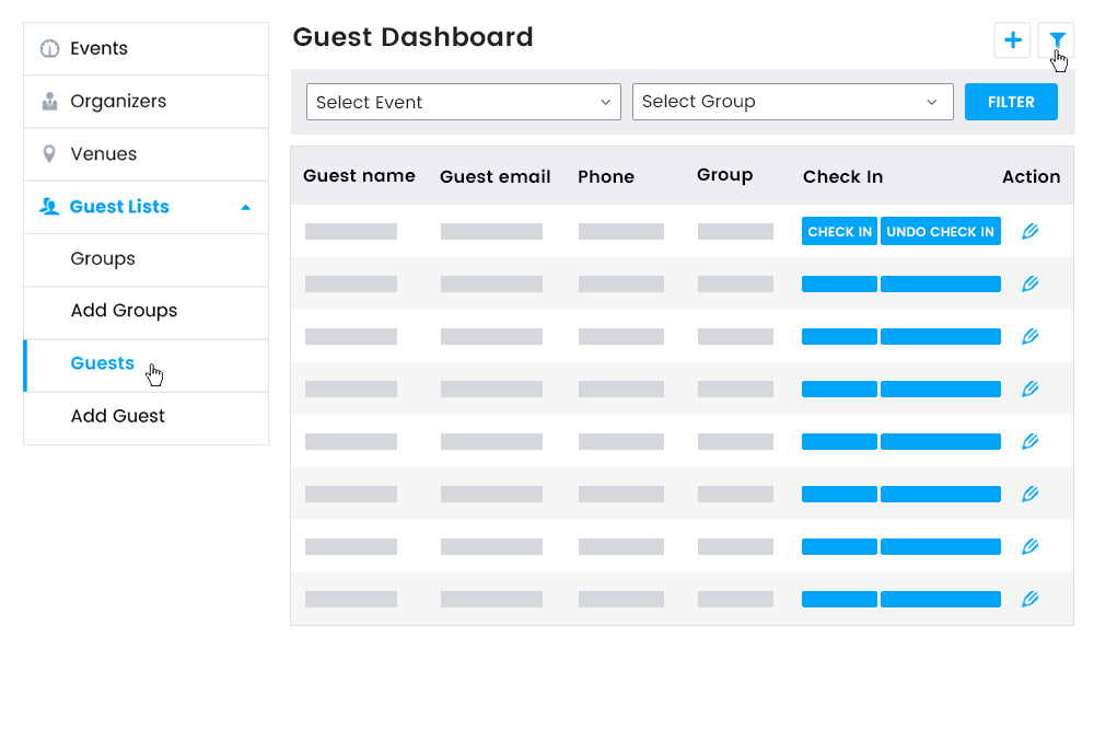 Guest List Dashboard on frontend