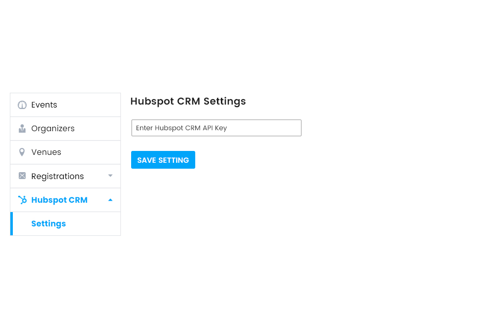 HubSpot CRM settings at Frontend