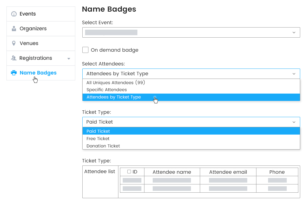 Customizing Badges in accordance with ticket type
