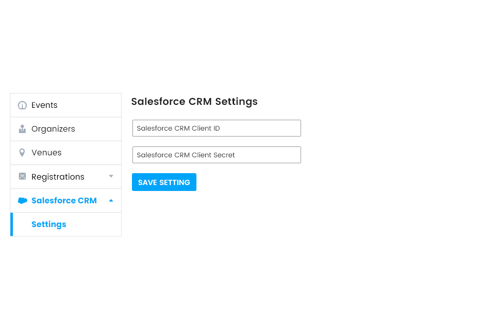 Salesforce CRM  settings at Frontend