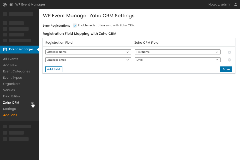 Field Mapping of the Registration form Fields at Admin Panel