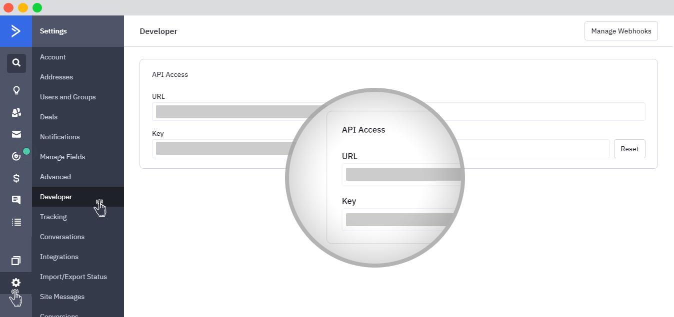 Obtaining Active campaign API keys