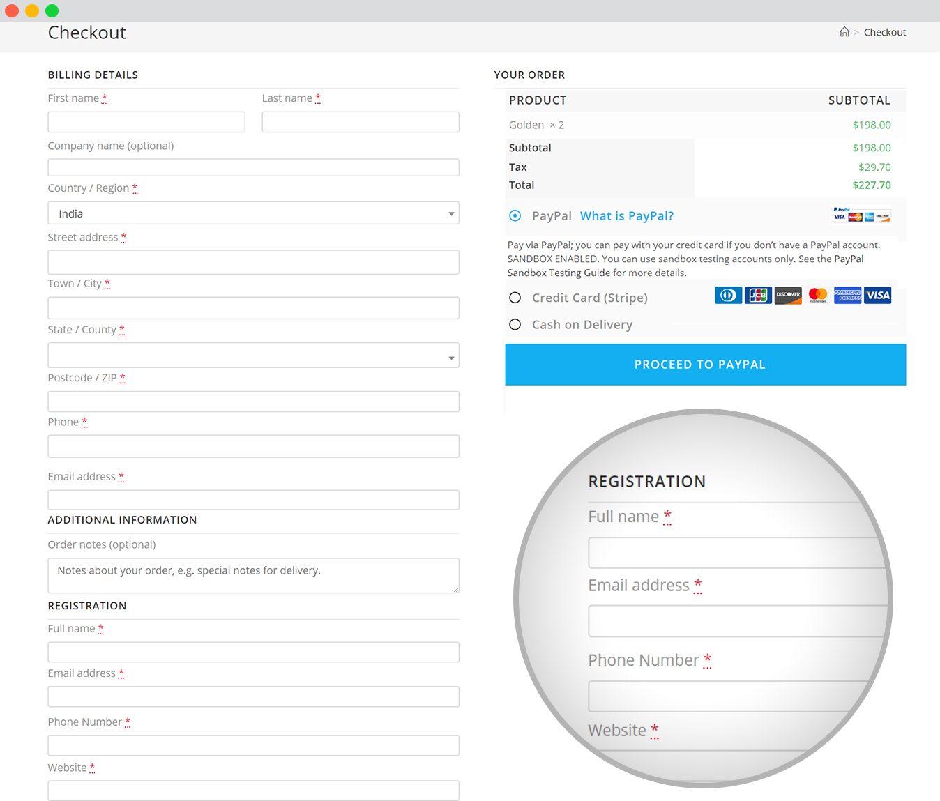 WP event manager registration field checkout page
