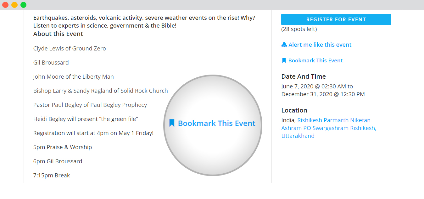 WP event manager bookmark form