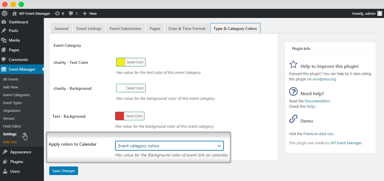 WP event manager calendar category color