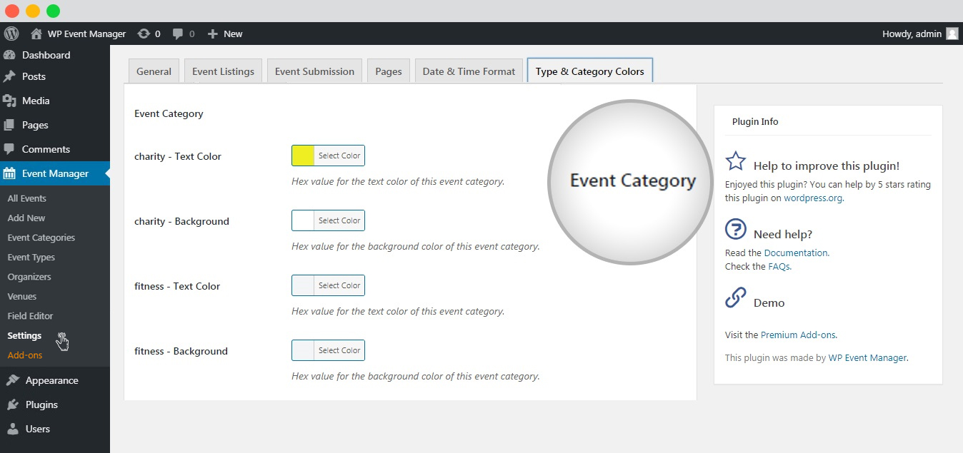 WP event manager event category list