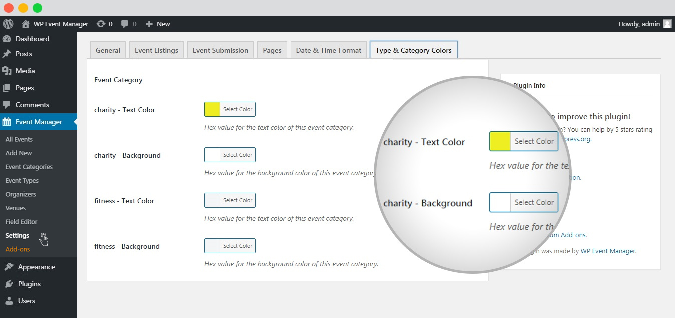 WP event manager event category txt and background colors