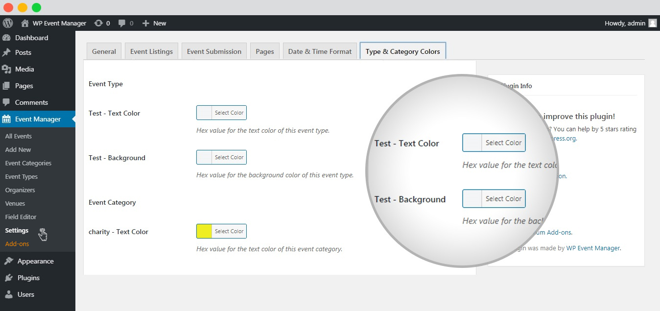 WP event manager event type txt and background colors