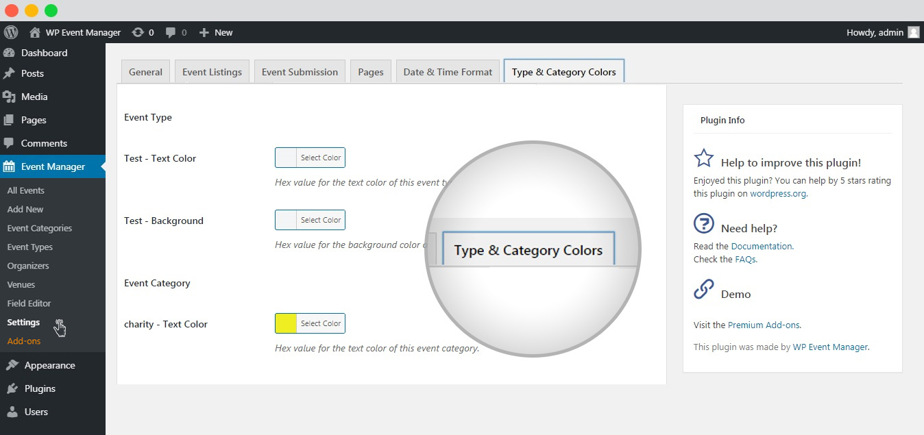 WP event manager type and category colors