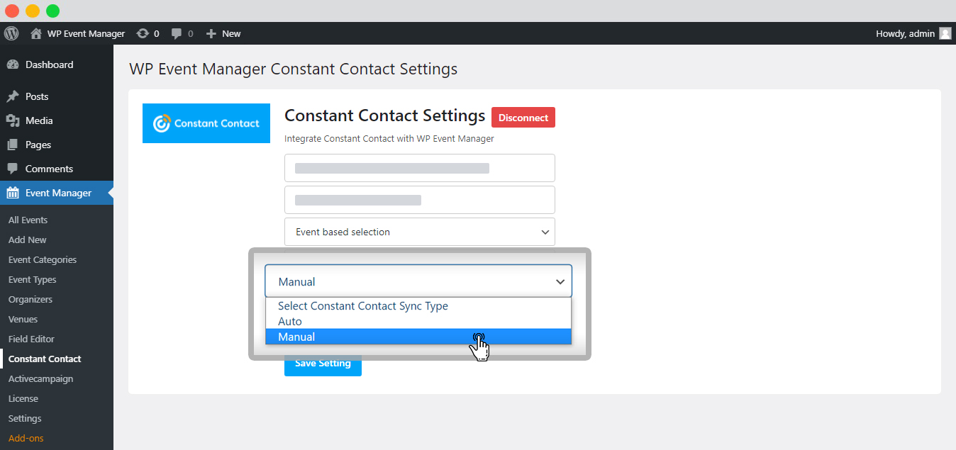 WP event manager Constant Contact