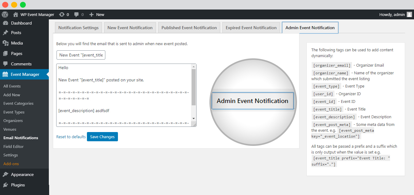 WP event manager admin event notification