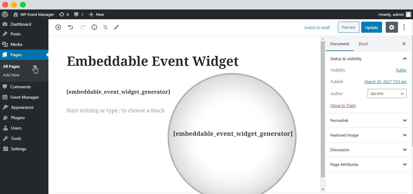 WP event manager Embeddable Event Widget setup