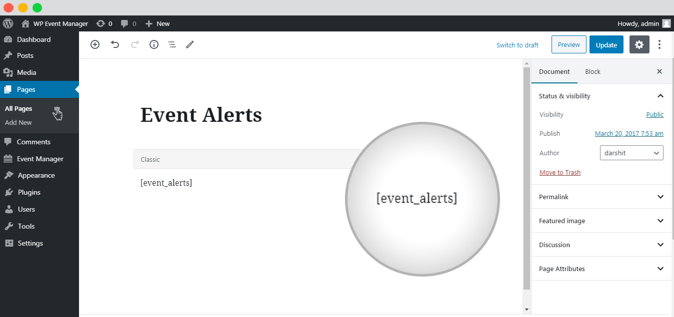 WP Event Manager Event Alerts shortcode