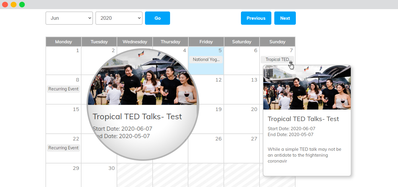 WP event manager Event calendar frontend widget