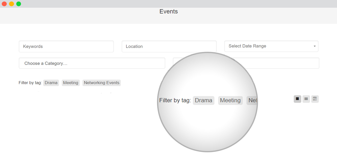 WP event manager Event Tags filter