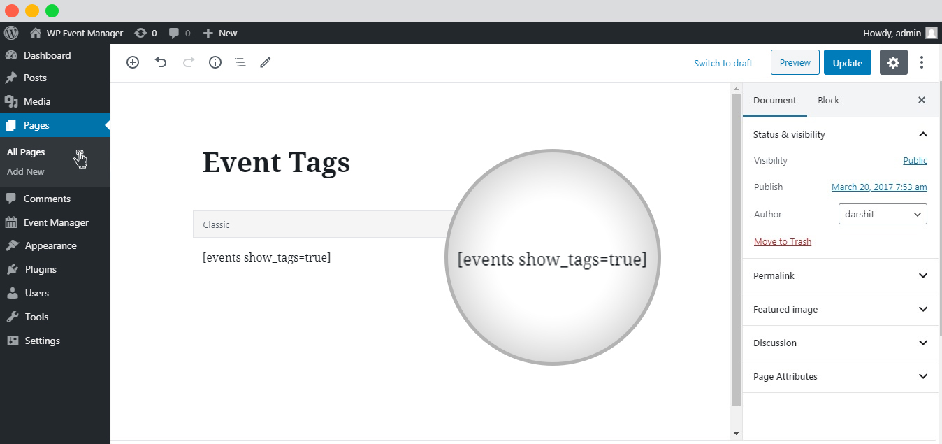 WP event manager Event Tags setup
