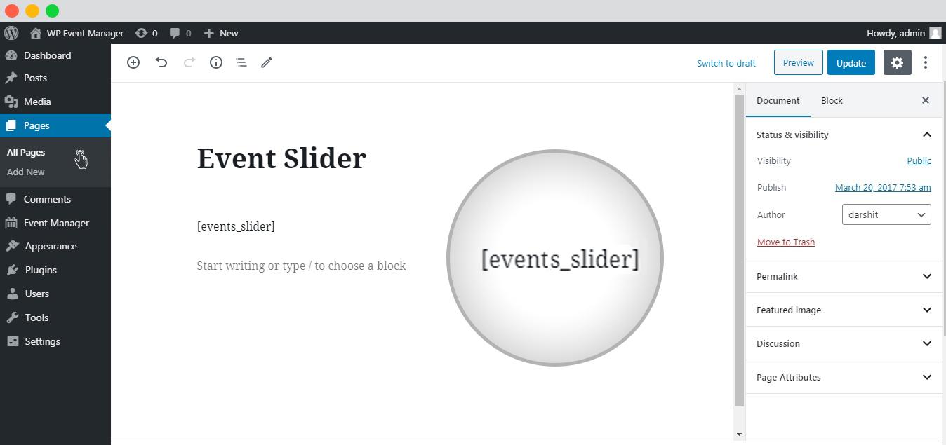 WP event manager Event slider setup