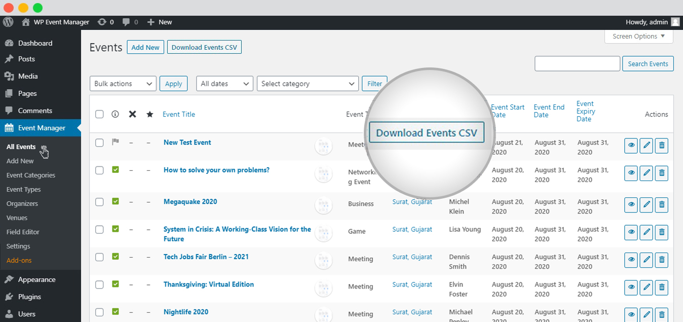 WP event manager admin export metakey download