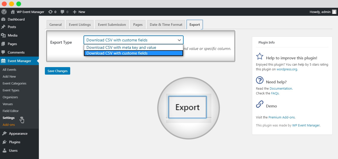WP event manager admin export metakey