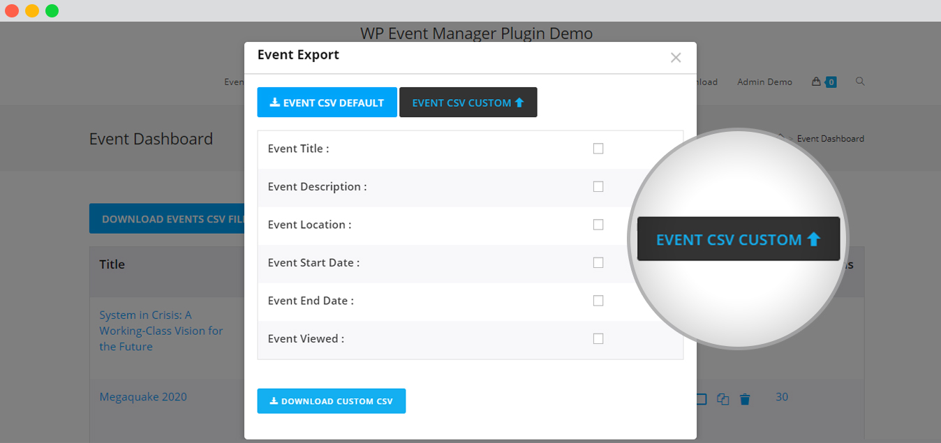 WP event manager export custom file