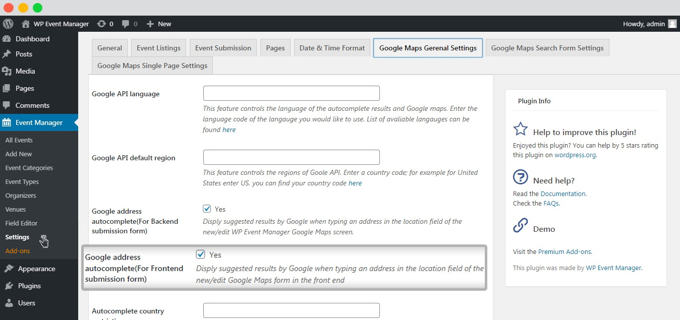 WP event manager frontend-google-address-autocomplete