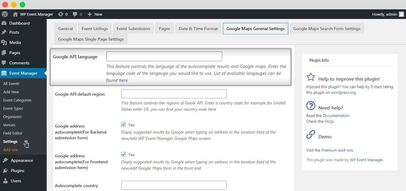 WP event manager google API language