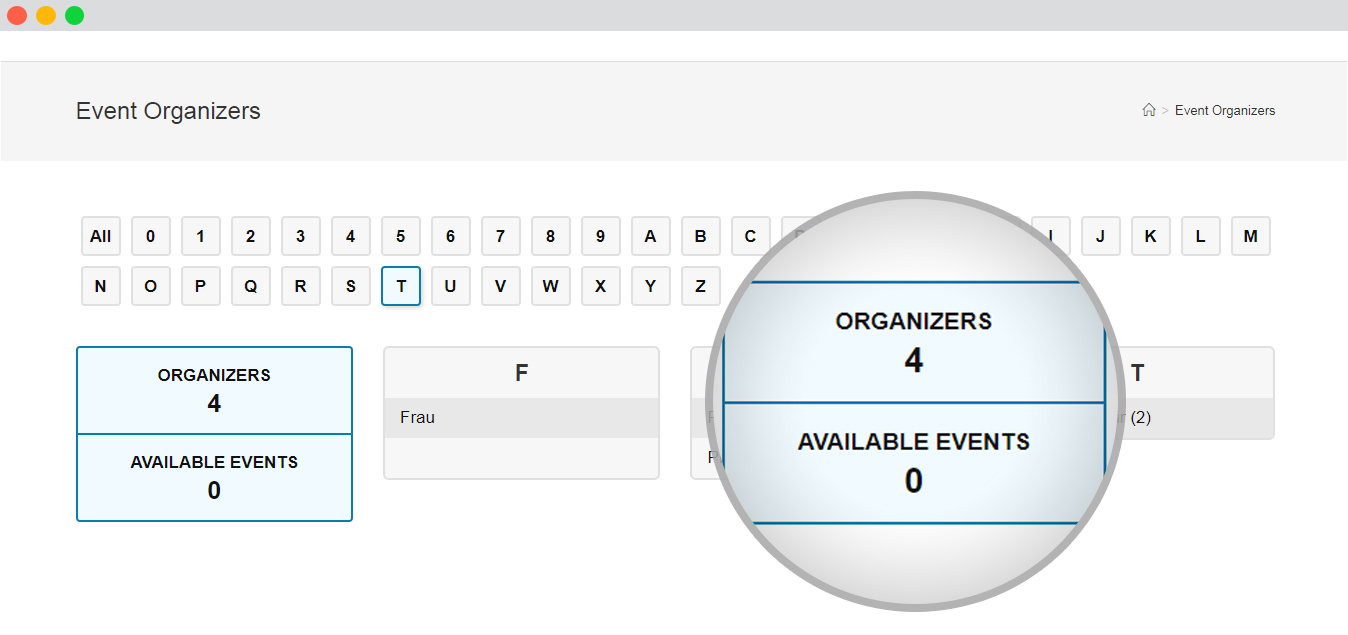 WP Event manager Frontend View Of The Organizers List Page