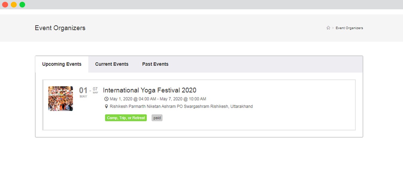 WP Event manager Get Single Organizer's Details