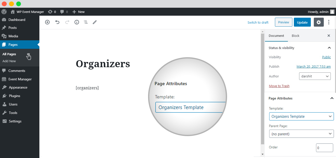 WP Event manager Organizer List Using Page Template