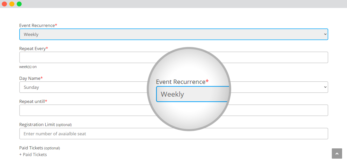 WP event manager recurring events repeat weekly