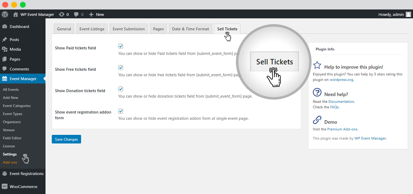 WP Event Manager Sell tickets ticket settings