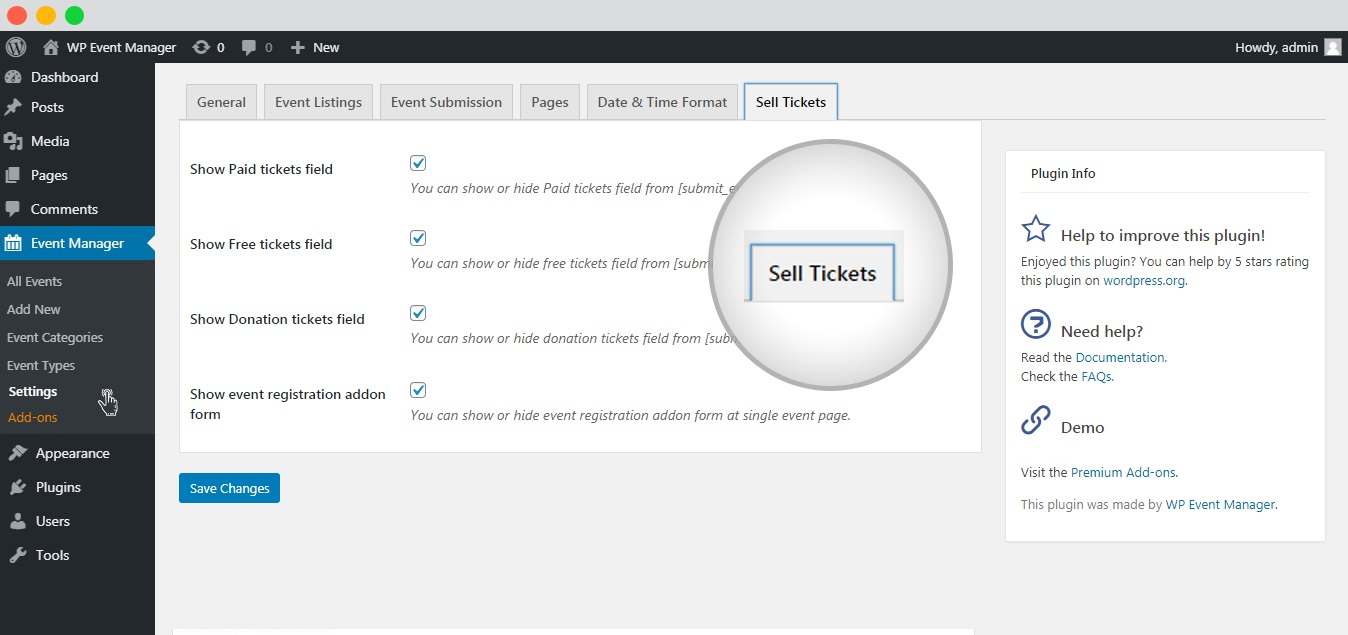 WP Event Manager Sell tickets settings