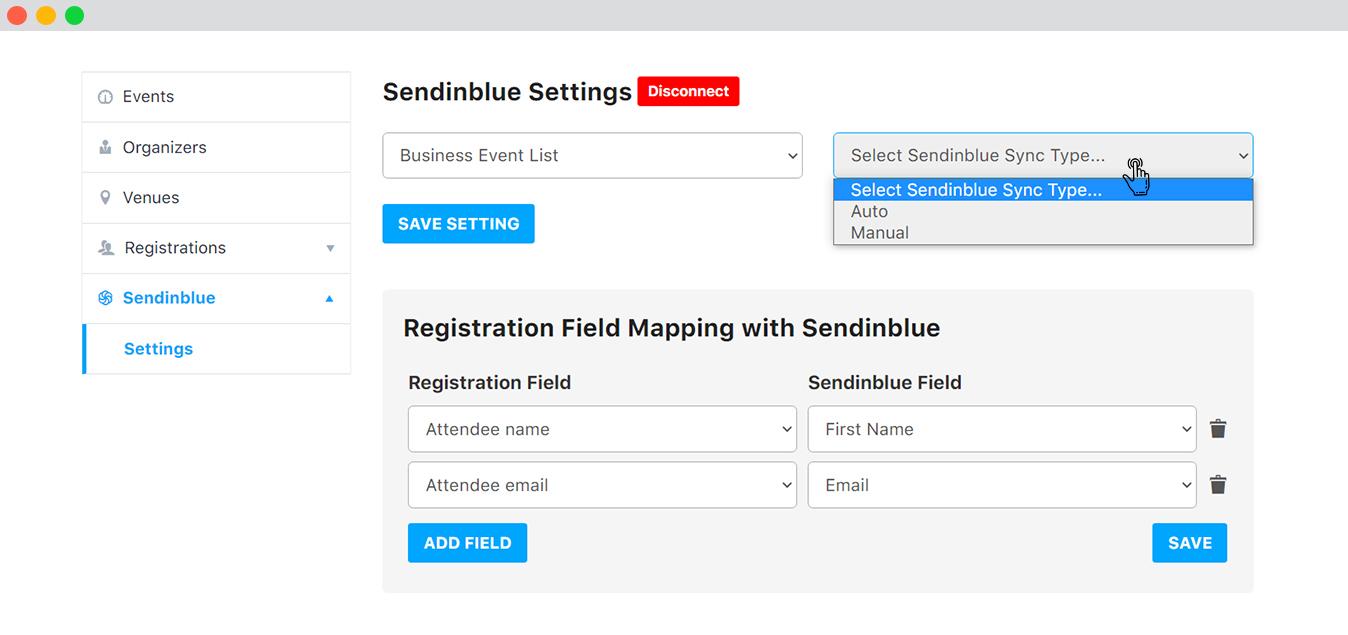 Sendinblue Settings at Frontend