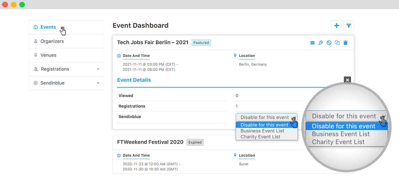 Sync Data on the basis of Event from frontend 1