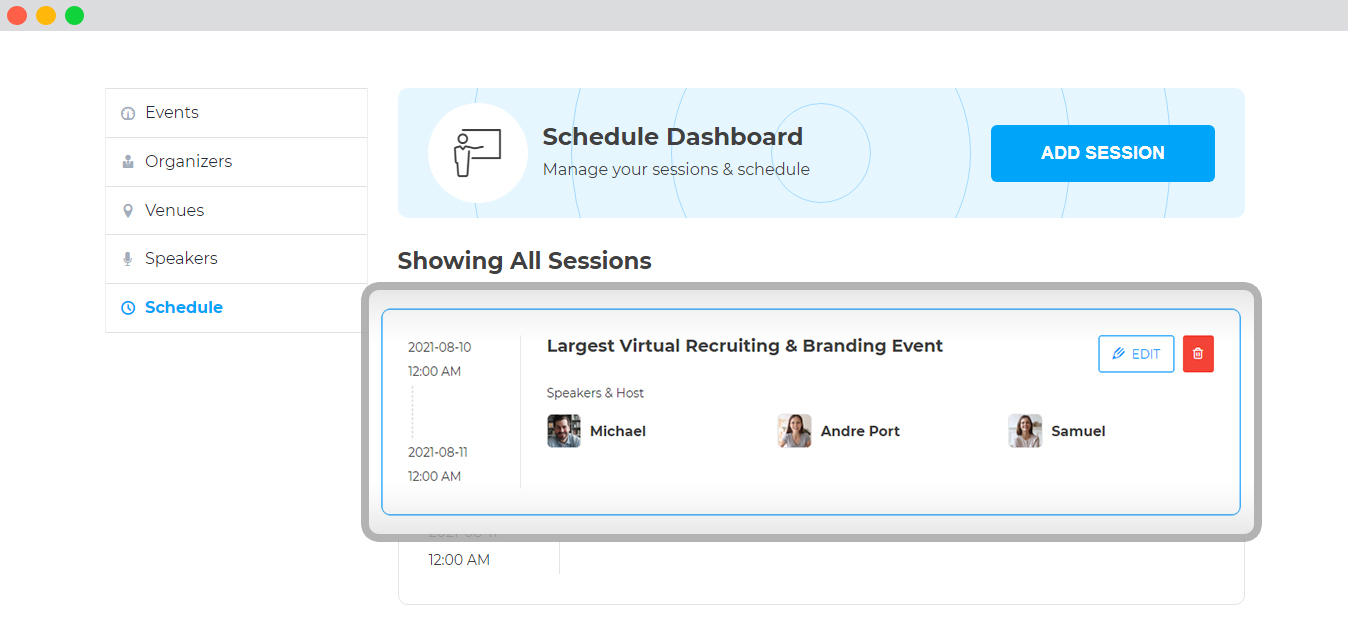 WP event manager Speaker and Schedule