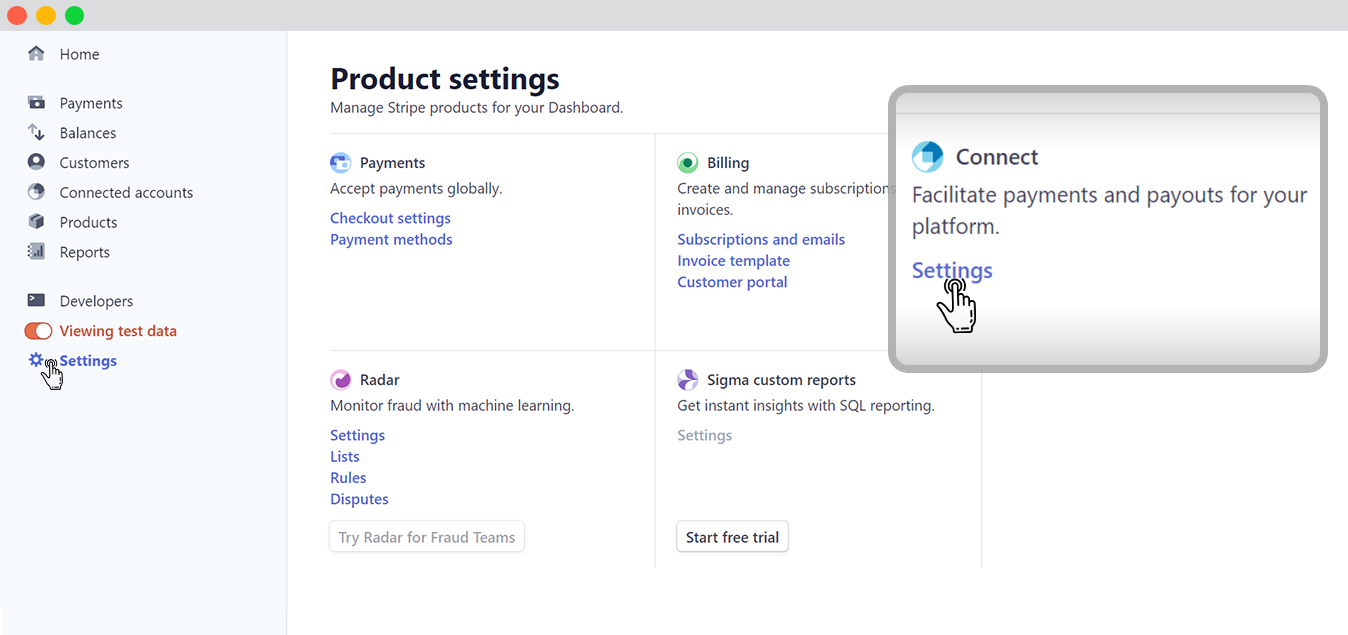 """Connecting stripe- to the """"Connect"""" option"""