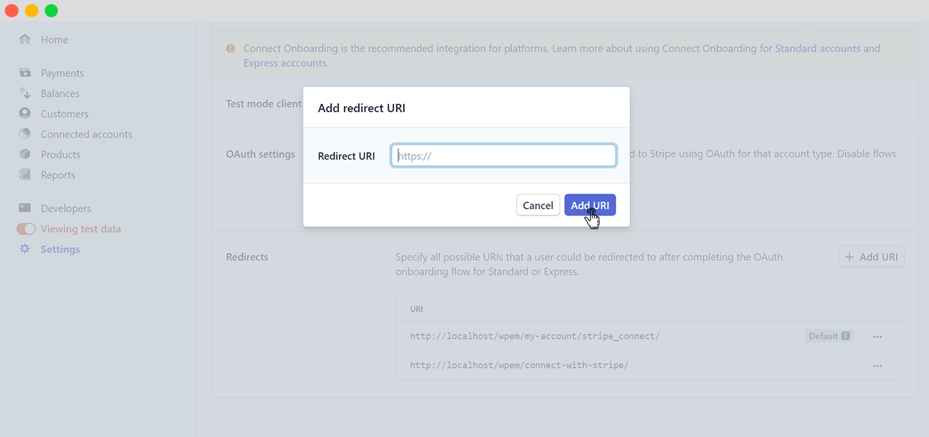 Connecting stripe-Set the Website URL 2