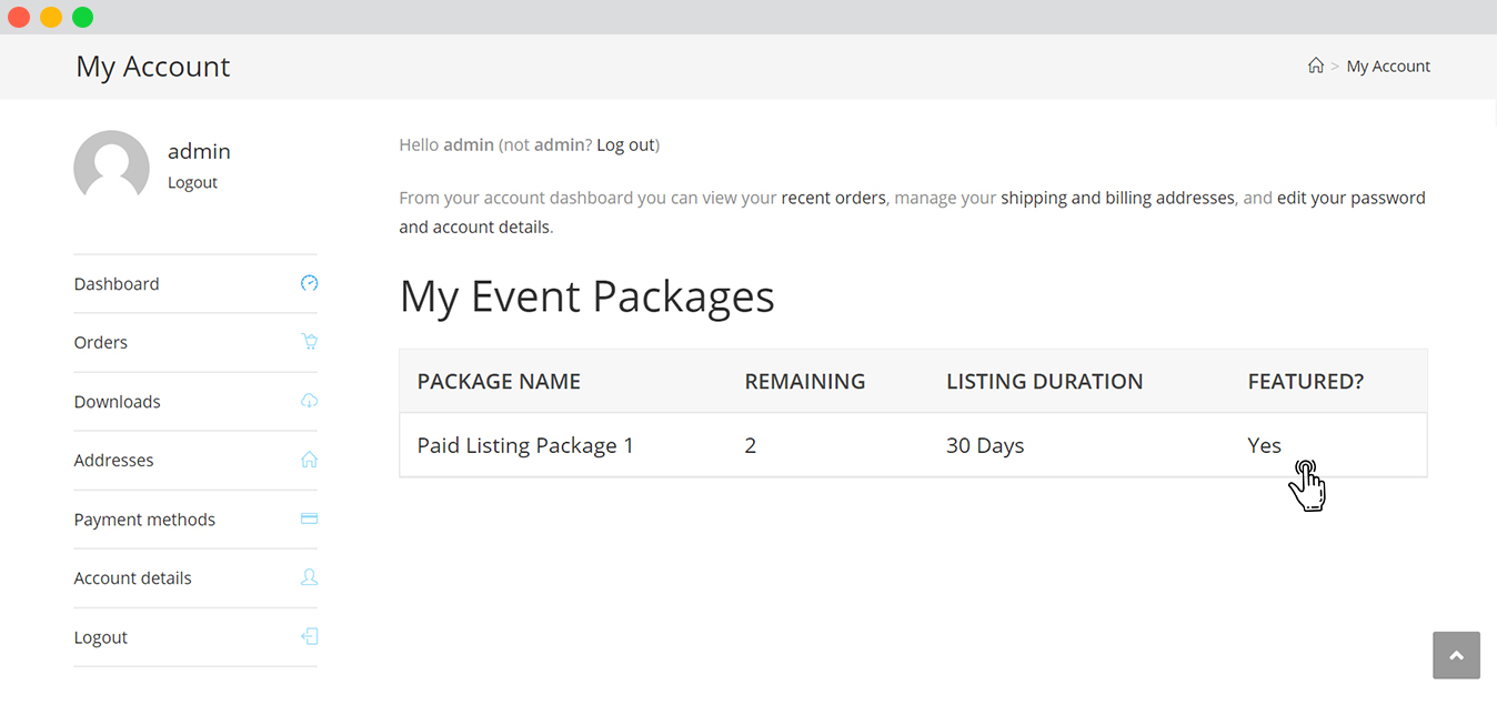 WP event manager Woocommerce Paid Listings Paid Listing package details