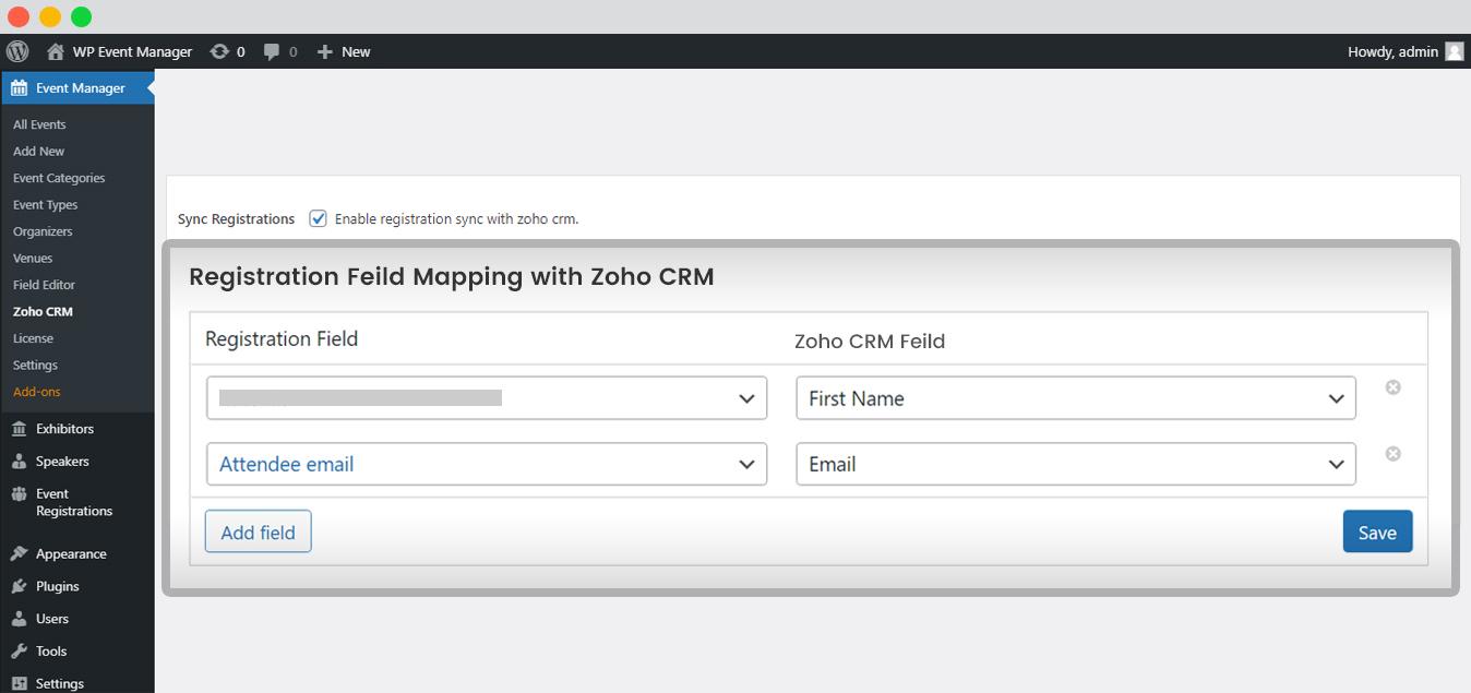 WP Event Manager Zoho CRM Integration