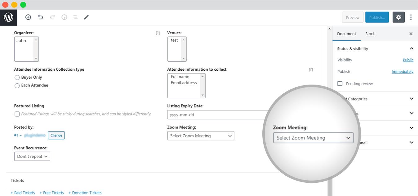 Bind Zoom Meetings