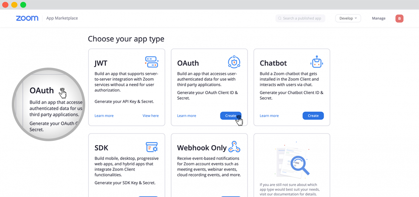 Choose your App type by oAuth