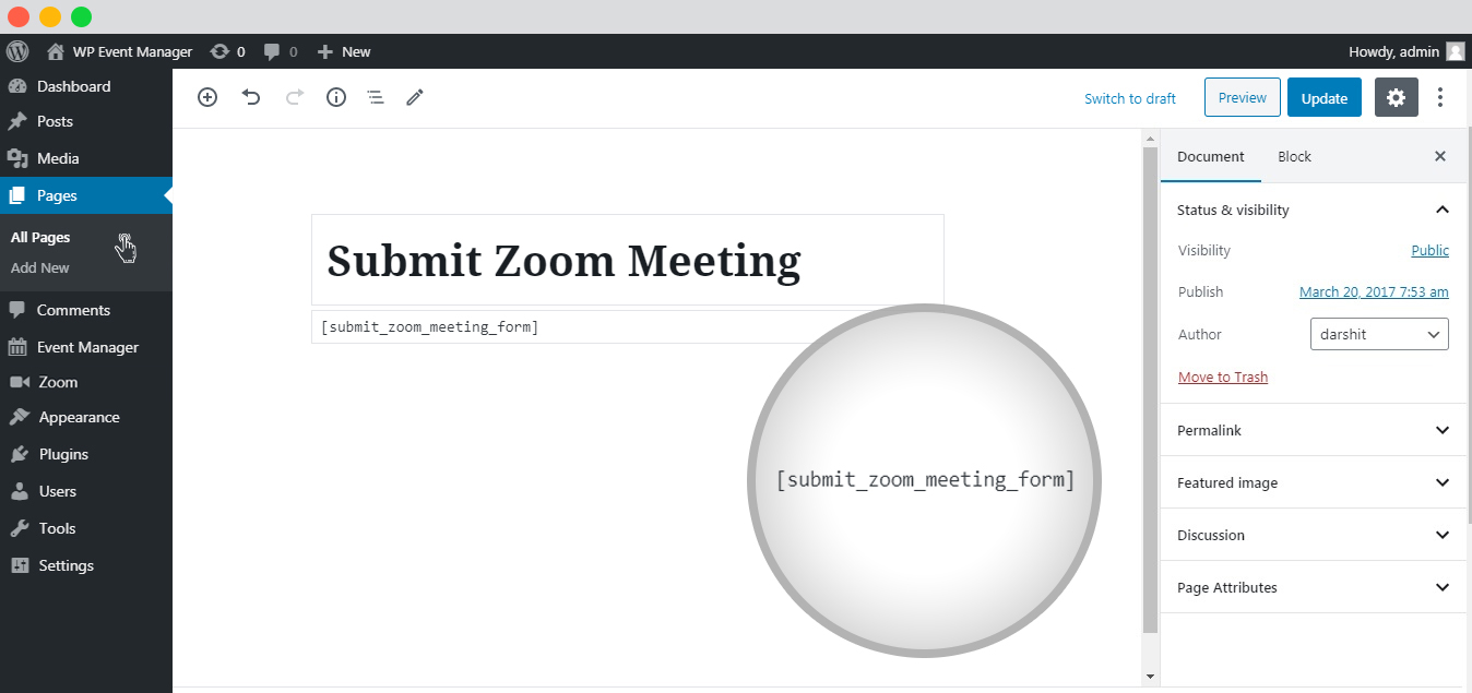Submit Zoom Meeting