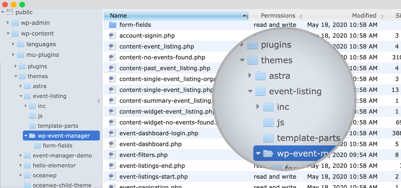 WP Event Manager Overriding template files via a theme